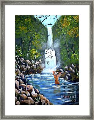 Framed Print featuring the painting Nymph In Pool by Phyllis Kaltenbach