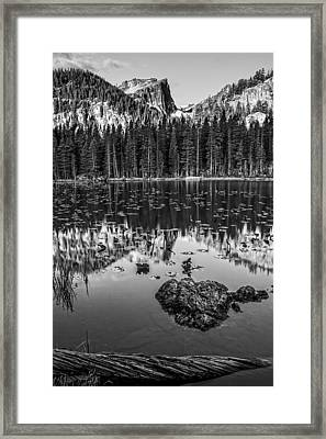Nymph Lake Sunrise Black And White Framed Print