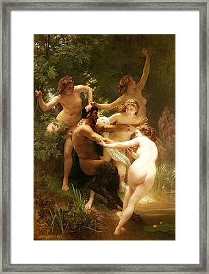 Nymphs And Satyr Framed Print by William-Adolphe Bouguereau