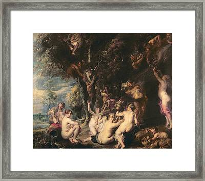 Nymphs And Satyrs, C.1635 Oil On Canvas Framed Print