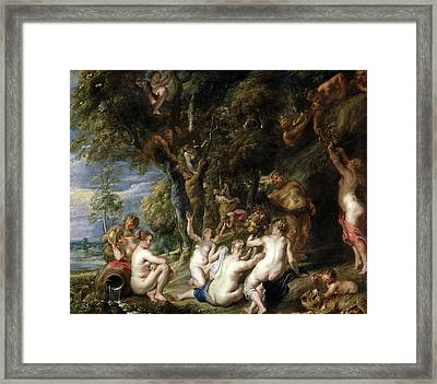 Nymphs And Satyrs Framed Print by Peter Paul Rubens