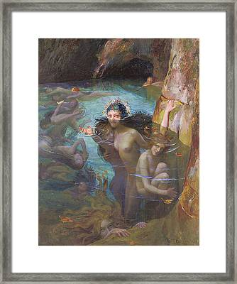 Nymphs At A Grotto Framed Print by Gaston Bussiere