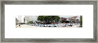 Nypd Cop Cars In Front Of Lincoln Center Framed Print by Nishanth Gopinathan