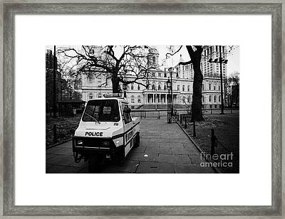 Nypd Police Three Wheeled Cushman Scooter Vehicle Outside City Hall Park New York City Framed Print by Joe Fox