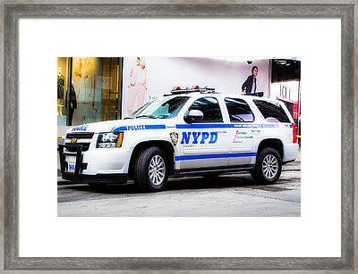 Nypd Suv - New York City Life - Hdr Framed Print by Carlos Negron