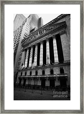 Nyse New York Stock Exhange In Lights Of American Flag Wall Street Framed Print