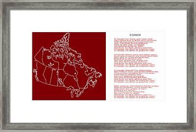 O Canada Lyrics And Map Framed Print
