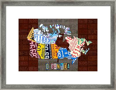 O Canada Recycled License Plate Map Of Canada National Anthem On Canadian Flag Art Framed Print