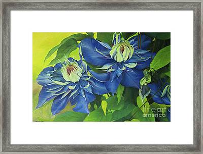 Framed Print featuring the painting O Clematis by Jeanette French