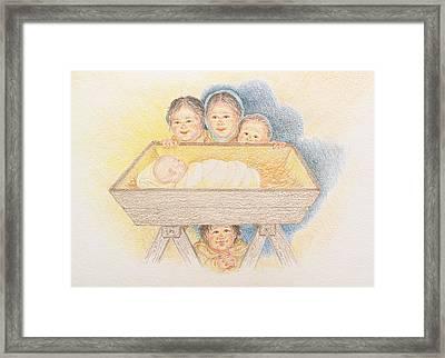 O Come Little Children - Christmas Card Framed Print
