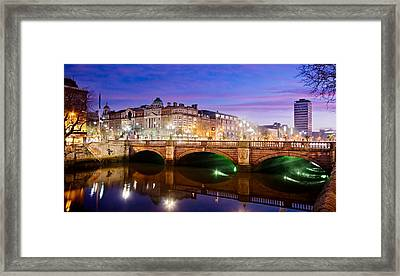 Framed Print featuring the photograph O Connell Bridge At Night - Dublin by Barry O Carroll