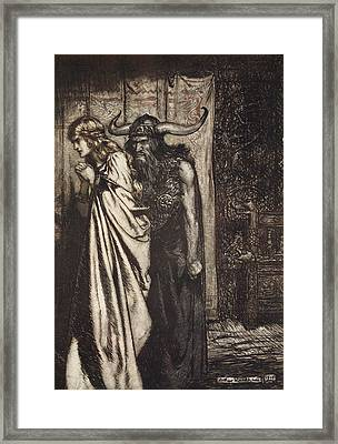 O Wife Betrayed I Will Avenge Framed Print by Arthur Rackham