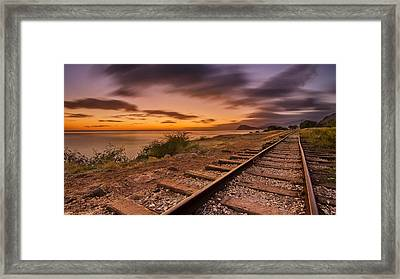 Oahu Rail Road Track Sunset Framed Print