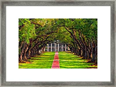 Oak Alley Paint Version Framed Print by Steve Harrington