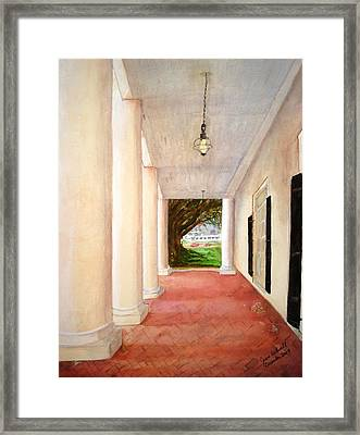 Framed Print featuring the painting Oak Alley - Veranda View Of The Delta Queen by June Holwell