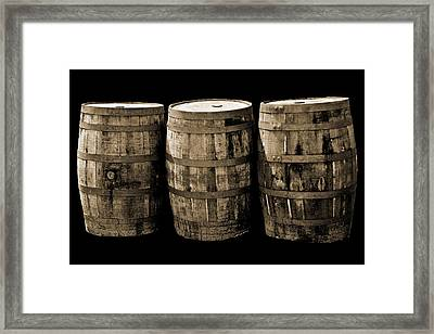 Oak Barrel Sepia Framed Print