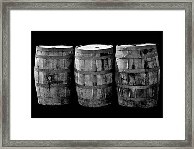 Oak Barrels Bw On Bk Framed Print