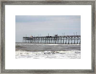 Oak Island Beach Pier Framed Print