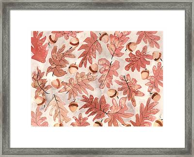 Oak Leaves And Acorns Framed Print by Neela Pushparaj