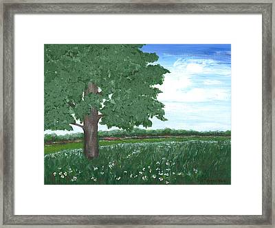 Framed Print featuring the painting Oak Tree In Summer Meadow by Penny Hunt