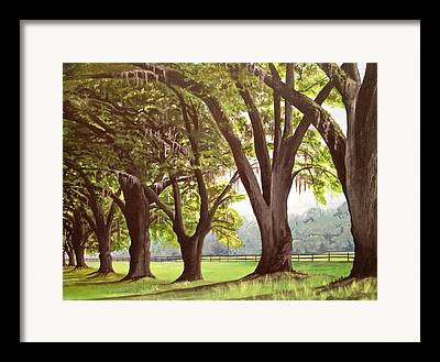 Oak Alley Plantation Paintings Framed Prints