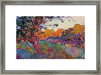 Framed Print featuring the painting Oaken Light by Erin Hanson