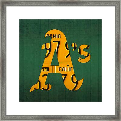 Oakland Athletics Vintage Baseball Logo License Plate Art Framed Print by Design Turnpike