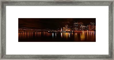 Oakland Bay Bridge At Night Framed Print