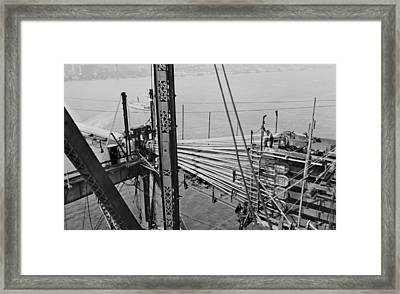 Oakland Bay Bridge Construction, 1935 Framed Print by Science Photo Library