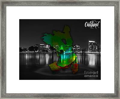 Oakland Map And Skyline Watercolor Framed Print