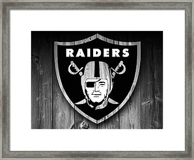 Oakland Raiders Barn Door Framed Print by Dan Sproul