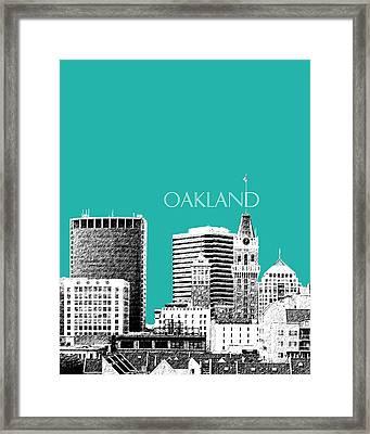 Oakland Skyline 1 - Teal Framed Print