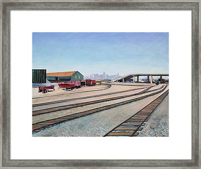 Framed Print featuring the painting Oakland Train Tracks And San Francisco Skyline by Asha Carolyn Young
