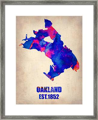 Oakland Watercolor Map Framed Print