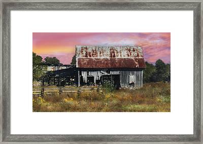 Oakwood Barn At Sunrise Framed Print