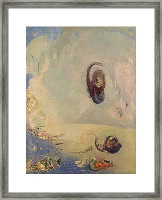 Oannes, C.1910 Oil On Canvas Framed Print by Odilon Redon