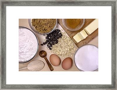 Oatmeal Raisin Cookie Ingredients Framed Print by Teri Virbickis