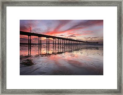 Ob Pier Reflection Sunset Framed Print