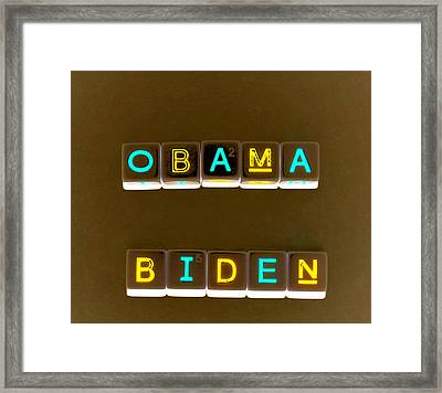 Obama Biden Words. Framed Print by Oscar Williams