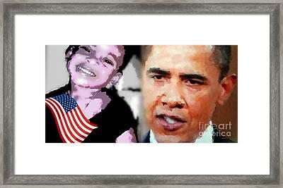 Obama - If I Had A Son He Would Look Like Me Framed Print by Fania Simon