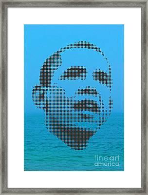 Obama On Ocean Framed Print by Rodolfo Vicente