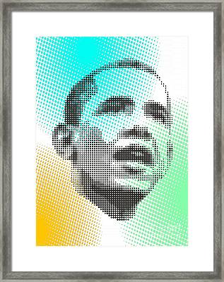 Obama Over Coloured Dots Framed Print by Rodolfo Vicente