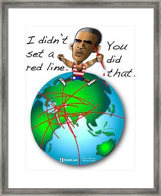 Obama Red Lines Framed Print