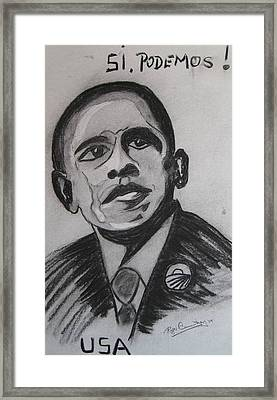 Obama Framed Print by Roger Cummiskey