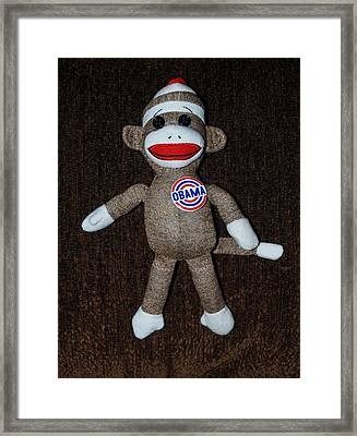 Obama Sock Monkey Framed Print