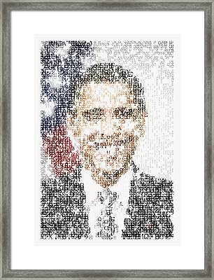 Obama Typographic Portrait Framed Print by Celestial Images