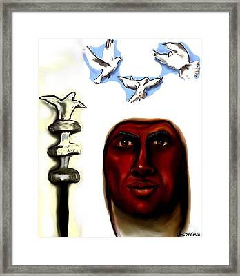 Obatala -king Of White Cloth Framed Print by Carmen Cordova