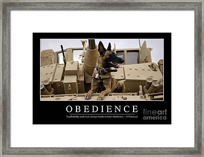 Obedience Inspirational Quote Framed Print by Stocktrek Images