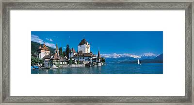 Oberhofen Castle W\ Thuner Lake Framed Print by Panoramic Images