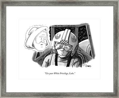 Obi Wan Kenobi Talks To Luke Skywalker Framed Print